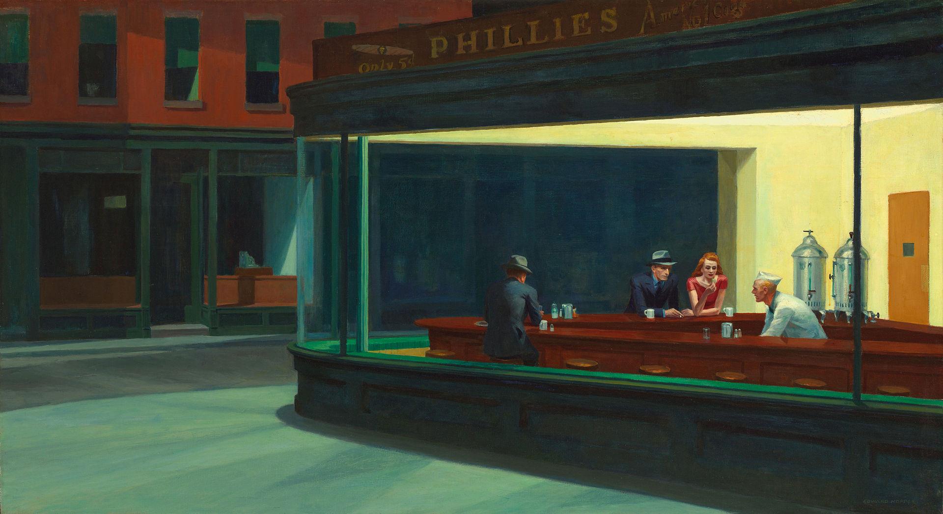 Edward Hawking's Painting from 1942 - named 'Nighthawks'