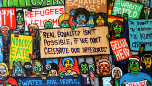 Random wall painting, text - Real equality isn't possible, if we don't celebrate our differences