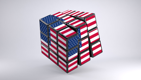 Rubik's Cube in US flag colors on whit background